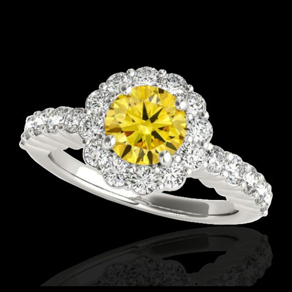 1.75 CTW Certified SI/I Fancy Intense Yellow Diamond Solitaire Halo Ring 10K White Gold - REF-180X2T - 34166