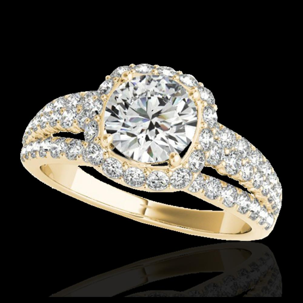 2 CTW H-SI/I Certified Diamond Solitaire Halo Ring 10K Yellow Gold - REF-180X2T - 34000