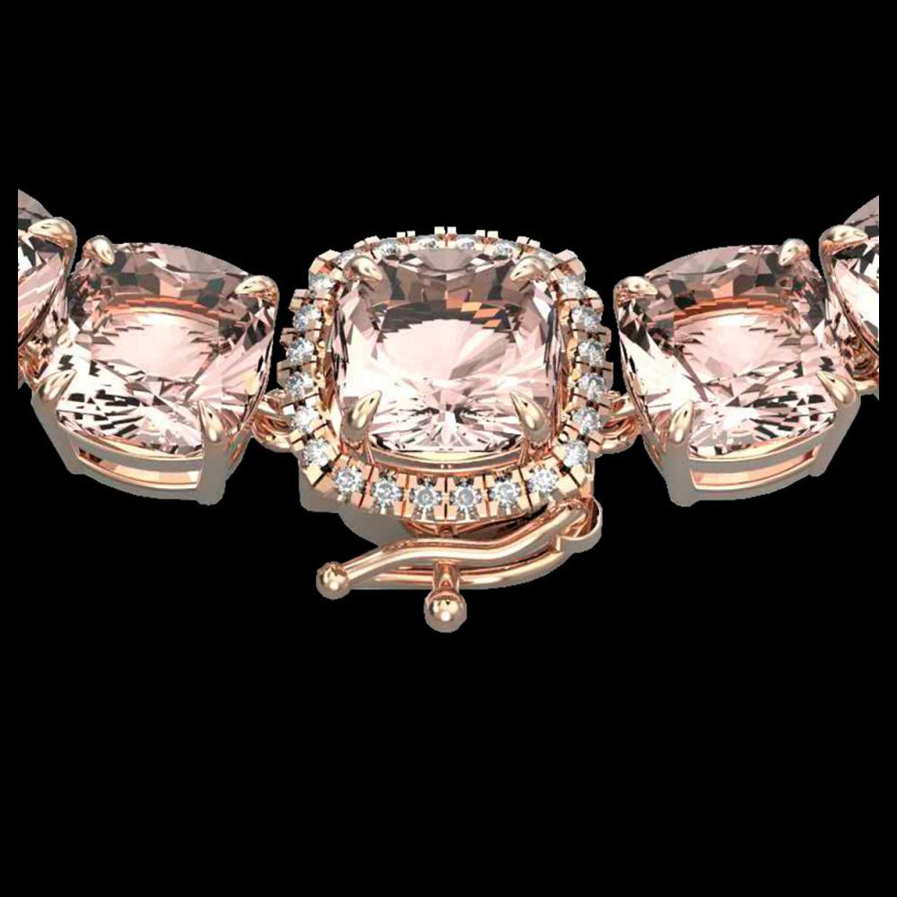 87 CTW Morganite & VS/SI Diamond Halo Micro Pave Necklace 14K Rose Gold - REF-1163A6X - 23353