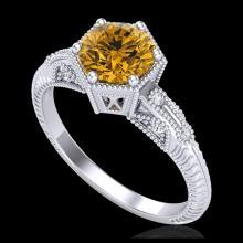 Lot 5049: 1.17 CTW Intense Fancy Yellow Diamond Engagement Art Deco Ring 18K White Gold - REF-180N2Y - 38036