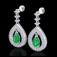 Lot 5061: 2.25 CTW Emerald & Micro Pave VS/SI Diamond Earrings Designer 14K White Gold - REF-105M5H - 23151