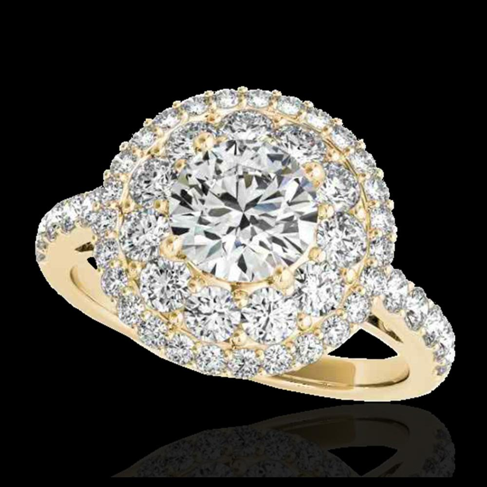 2.09 CTW H-SI/I Certified Diamond Solitaire Halo Ring 10K Yellow Gold - REF-220M2H - 33690