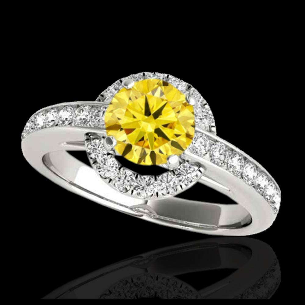 1.5 CTW Certified SI/I Fancy Intense Yellow Diamond Solitaire Halo Ring 10K White Gold - REF-180X2T - 33930