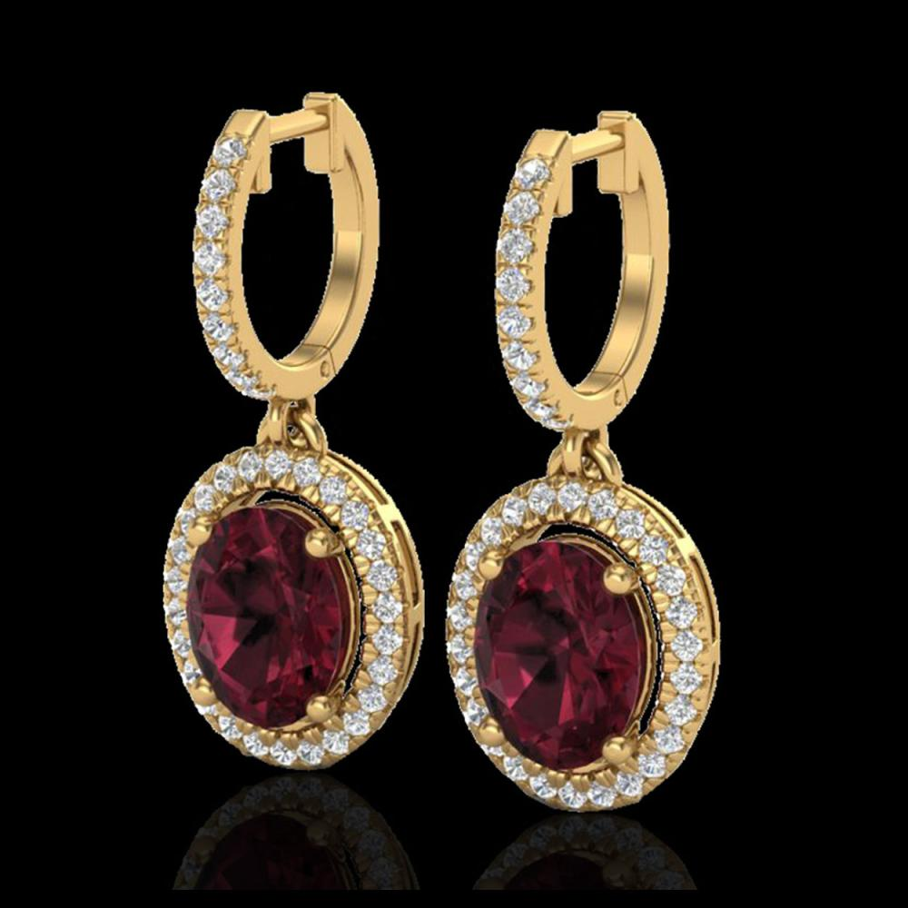 3.75 CTW Garnet & Micro Pave VS/SI Diamond Earrings Solitaire Halo 18K Yellow Gold - REF-100W2F - 20326