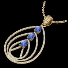 Lot 5072: 2 CTW Tanzanite & Micro VS/SI Diamond Designer Necklace 18K Yellow Gold - REF-138F2N - 22475