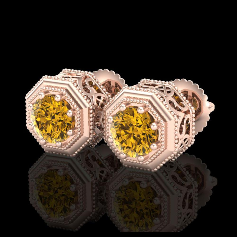 1.07 CTW Intense Fancy Yellow Diamond Art Deco Stud Earrings 18K Rose Gold - REF-132A8X - 37939