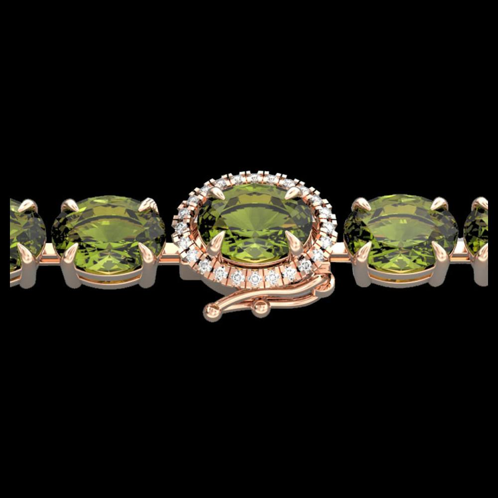 17.25 CTW Green Tourmaline & VS/SI Diamond Tennis Micro Halo Bracelet 14K Rose Gold - REF-172Y8K - 40235