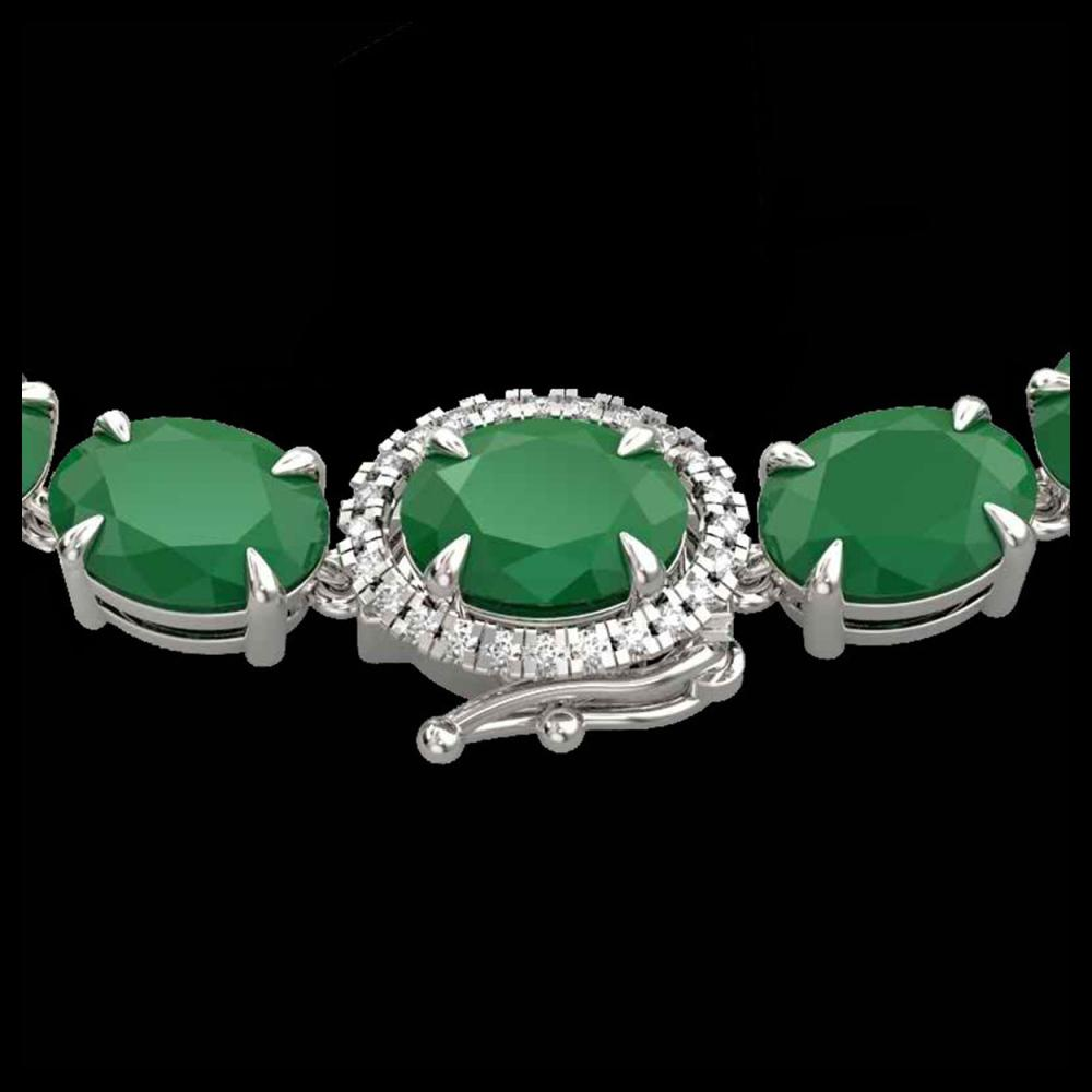 54.25 CTW Emerald & VS/SI Diamond Tennis Micro Pave Halo Necklace 14K White Gold - REF-345T5M - 40264