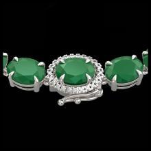 Lot 5081: 54.25 CTW Emerald & VS/SI Diamond Tennis Micro Pave Halo Necklace 14K White Gold - REF-345T5M - 40264