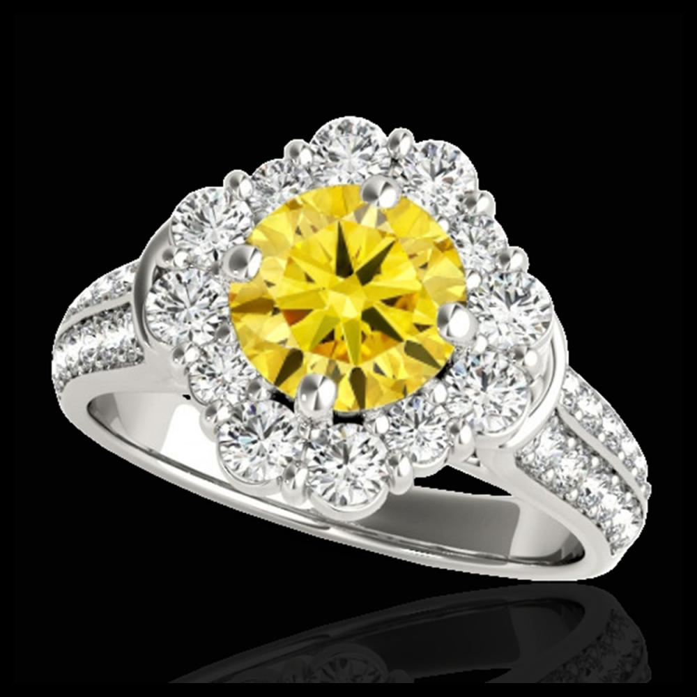 2.16 CTW Certified SI/I Fancy Intense Yellow Diamond Solitaire Halo Ring 10K White Gold - REF-221N8Y - 33956