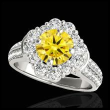 Lot 5084: 2.16 CTW Certified SI/I Fancy Intense Yellow Diamond Solitaire Halo Ring 10K White Gold - REF-221N8Y - 33956