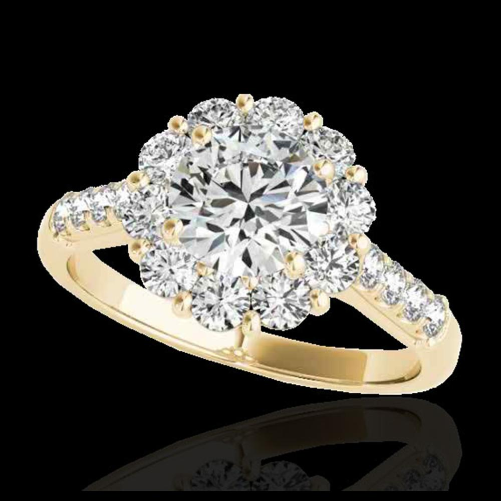2.75 CTW H-SI/I Certified Diamond Solitaire Halo Ring 10K Yellow Gold - REF-470W9F - 33429