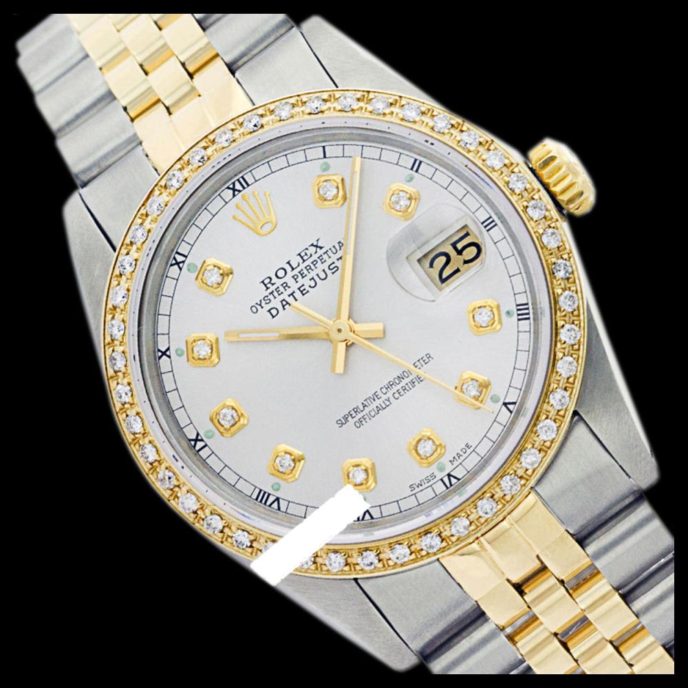 Lot 5078: Rolex Men's Two Tone 14K Gold/SS, QuickSet, Diamond Dial & Diamond Bezel - REF-557F5M
