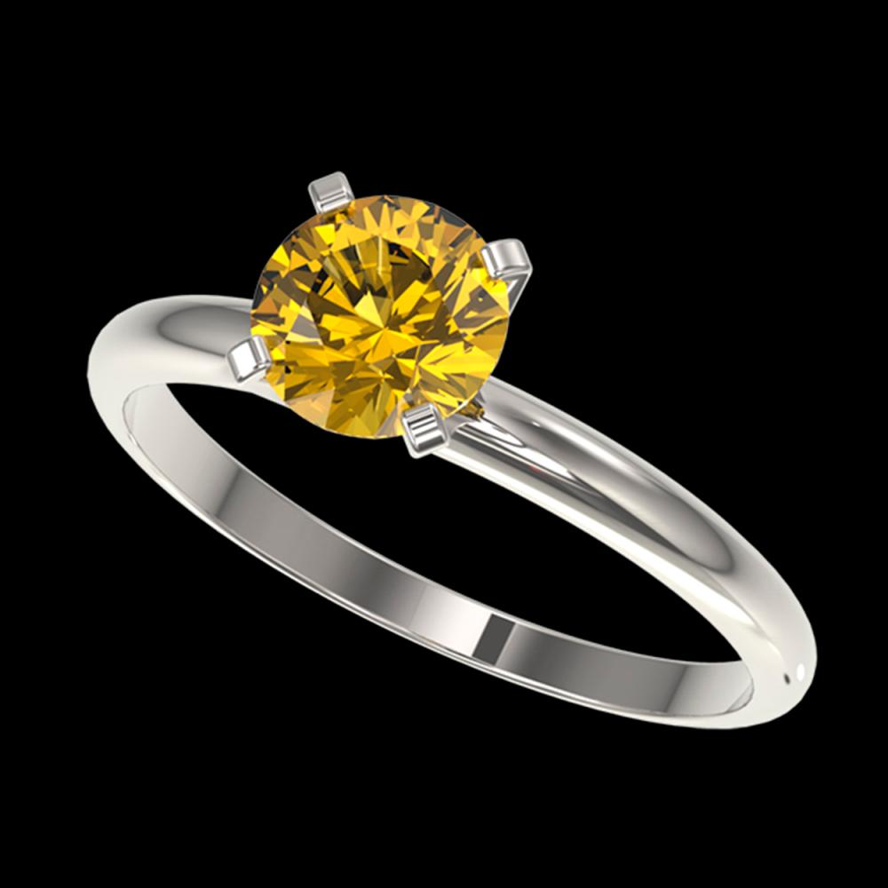 1.01 CTW Certified Intense Yellow SI Diamond Solitaire Engagement Ring 10K White Gold - REF-180T2M - 36416