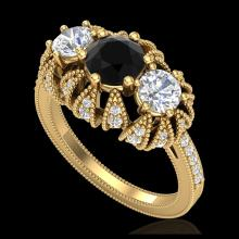 Lot 5088: 2.26 CTW Fancy Black Diamond Solitaire Art Deco 3 Stone Ring 18K Yellow Gold - REF-218H2A - 37746