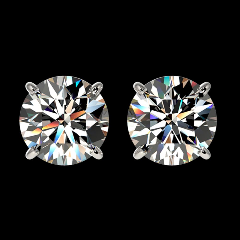 2.11 CTW Certified H-SI/I Quality Diamond Solitaire Stud Earrings 10K White Gold - REF-285N2Y - 36643