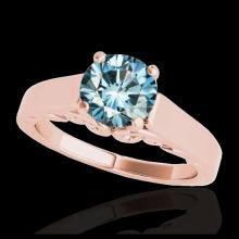 Lot 5098: 1.25 CTW SI Certified Fancy Blue Diamond Solitaire Ring 10K Rose Gold - REF-180N2Y - 35152