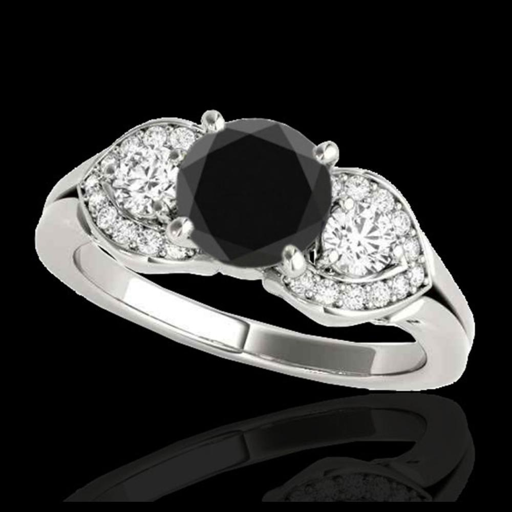 1.45 CTW Certified VS Black Diamond 3 Stone Ring 10K White Gold - REF-73T3M - 35334
