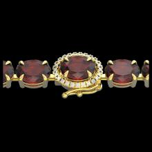 Lot 5102: 19.25 CTW Garnet & VS/SI Diamond Eternity Tennis Micro Halo Bracelet 14K Yellow Gold - REF-107X3T - 40233