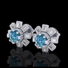 Lot 5094: 1.77 CTW Fancy Intense Blue Diamond Art Deco Stud Earrings 18K White Gold - REF-177W3F - 37866