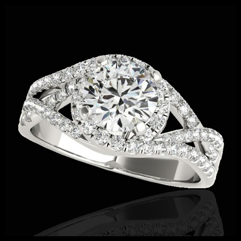 2 CTW H-SI/I Certified Diamond Solitaire Halo Ring 10K White Gold - REF-345X5T - 33839