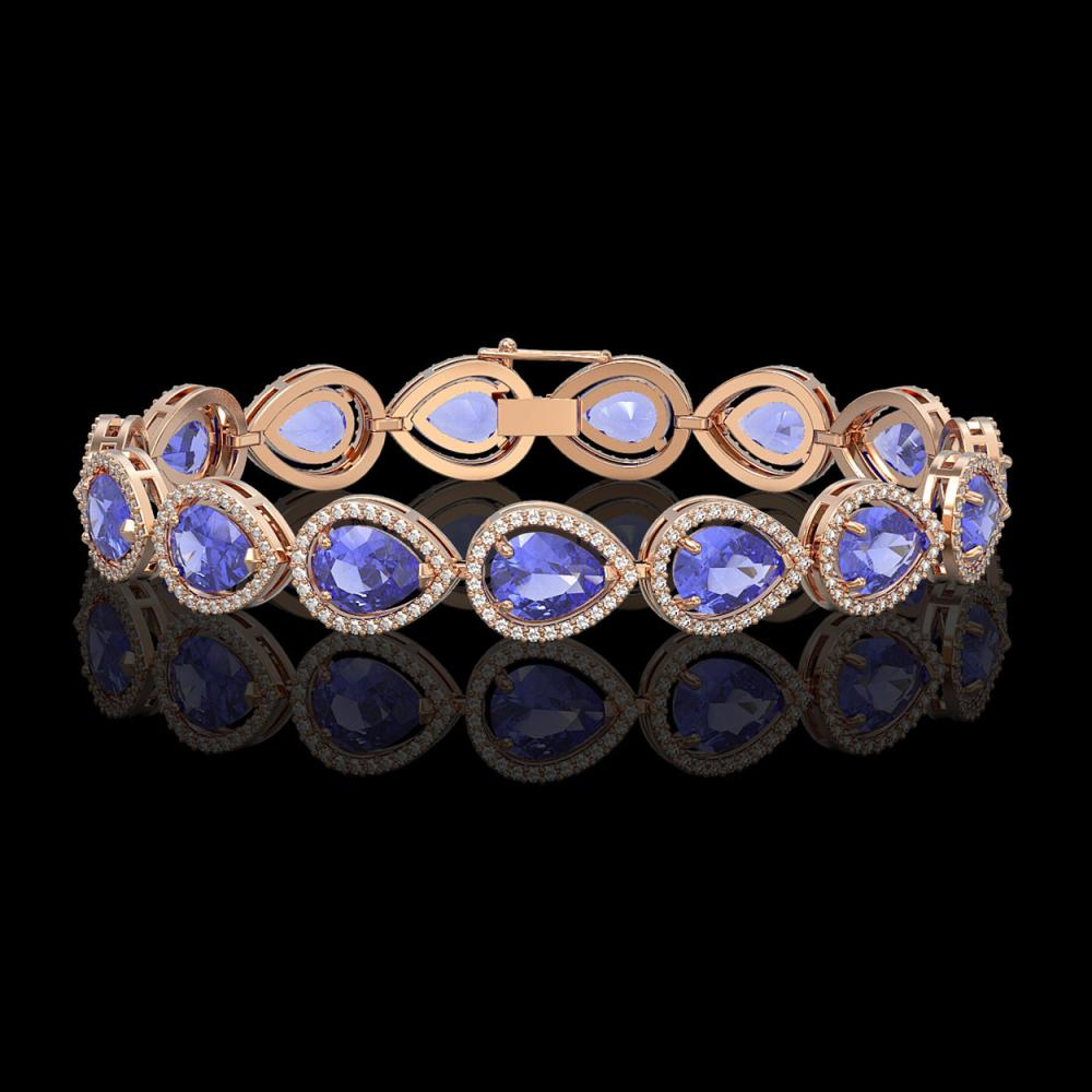 21.06 CTW Tanzanite & Diamond Halo Bracelet 10K Rose Gold - REF-532K4W - 41244