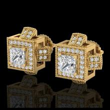 Lot 5095: 1.73 CTW Princess VS/SI Diamond Micro Pave Stud Earrings 18K Yellow Gold - REF-254Y5K - 37186