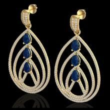 Lot 5106: 4 CTW Sapphire & Micro Pave VS/SI Diamond Designer Earrings 18K Yellow Gold - REF-307M3H - 22460