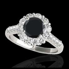 Lot 5109: 2 CTW Certified VS Black Diamond Solitaire Halo Ring 10K White Gold - REF-98A9X - 33421