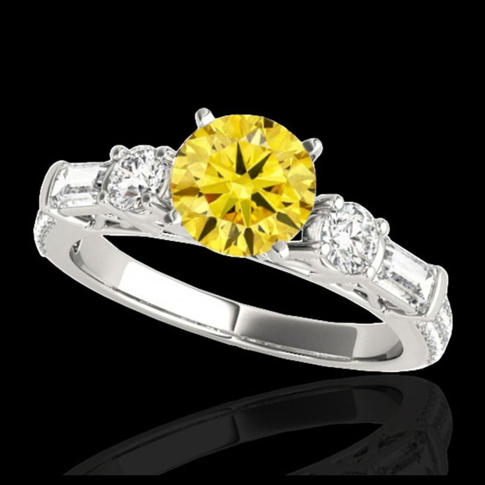 2.5 CTW Certified SI/I Fancy Intense Yellow Diamond Pave Solitaire Ring 10K White Gold - REF-327A3X - 35487
