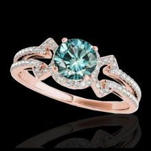 Lot 5119: 1.36 CTW SI Certified Fancy Blue Diamond Solitaire Ring 10K Rose Gold - REF-169Y3K - 35328