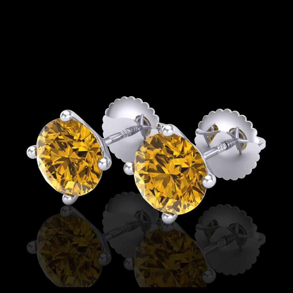 2.5 CTW Intense Fancy Yellow Diamond Art Deco Stud Earrings 18K White Gold - REF-354H5A - 38253