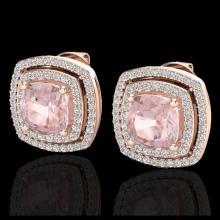 Lot 5125: 3.95 CTW Morganite & Micro Pave VS/SI Diamond Halo Earrings 14K Rose Gold - REF-106A2X - 20167