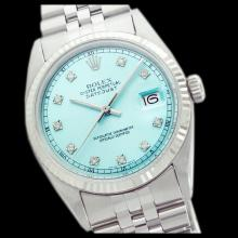 Lot 5114: Rolex Men's Stainless Steel, QuickSet, Diamond Dial with Fluted Bezel - REF-461Y3X