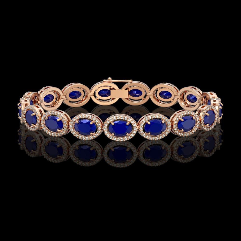 22.89 CTW Sapphire & Diamond Halo Bracelet 10K Rose Gold - REF-291Y5K - 40608