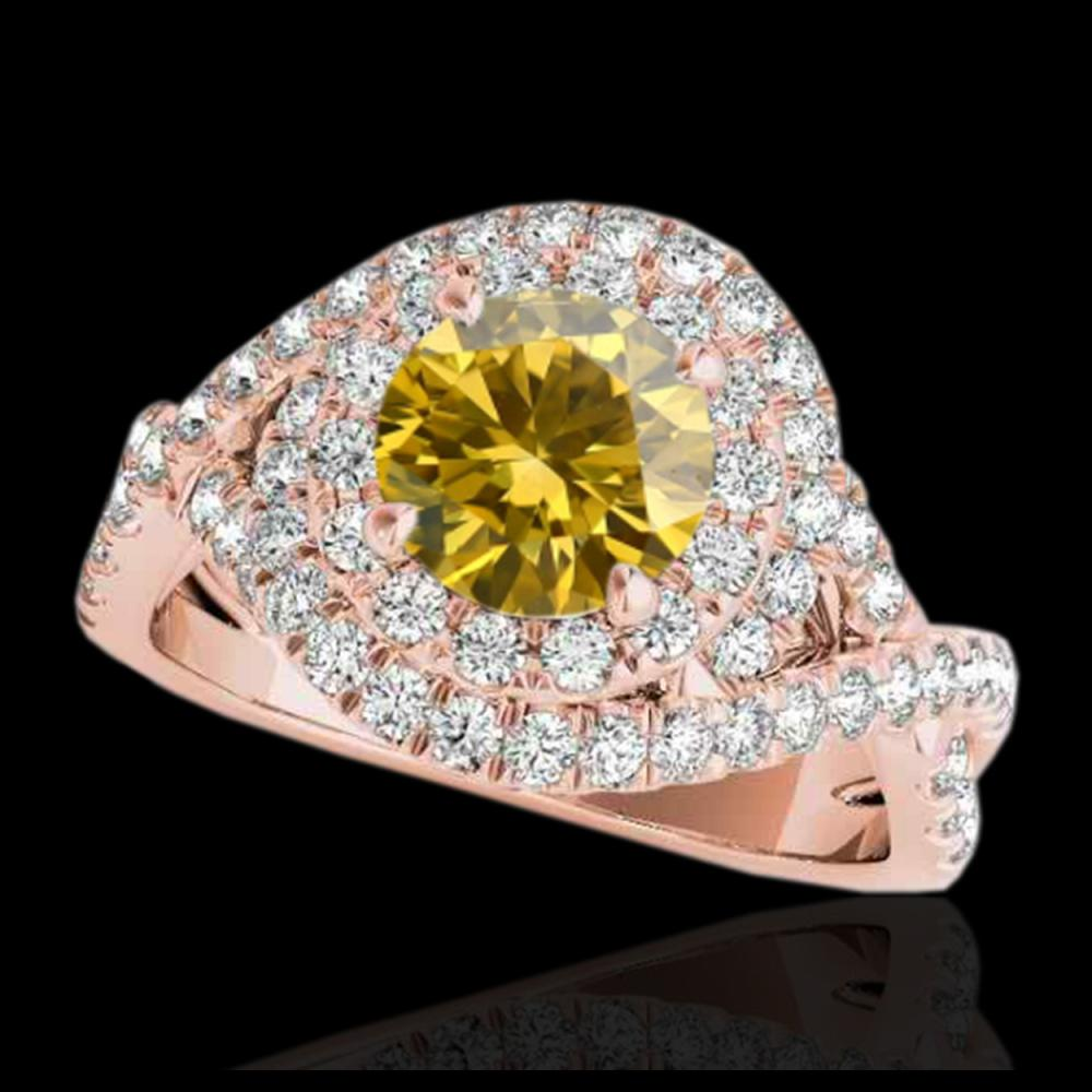 1.75 CTW Certified SI/I Fancy Intense Yellow Diamond Solitaire Halo Ring 10K Rose Gold - REF-209M3H - 33872