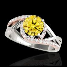 Lot 5127: 1.3 CTW Certified Si Intense Diamond Bypass Solitaire Ring 10K White & Rose Gold - REF-165H8A - 35084