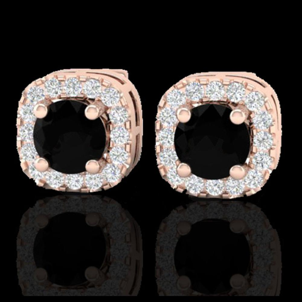 0.90 CTW Micro Pave Black & VS/SI Diamond Earrings Designer Halo 14K Rose Gold - REF-49X3T - 21168