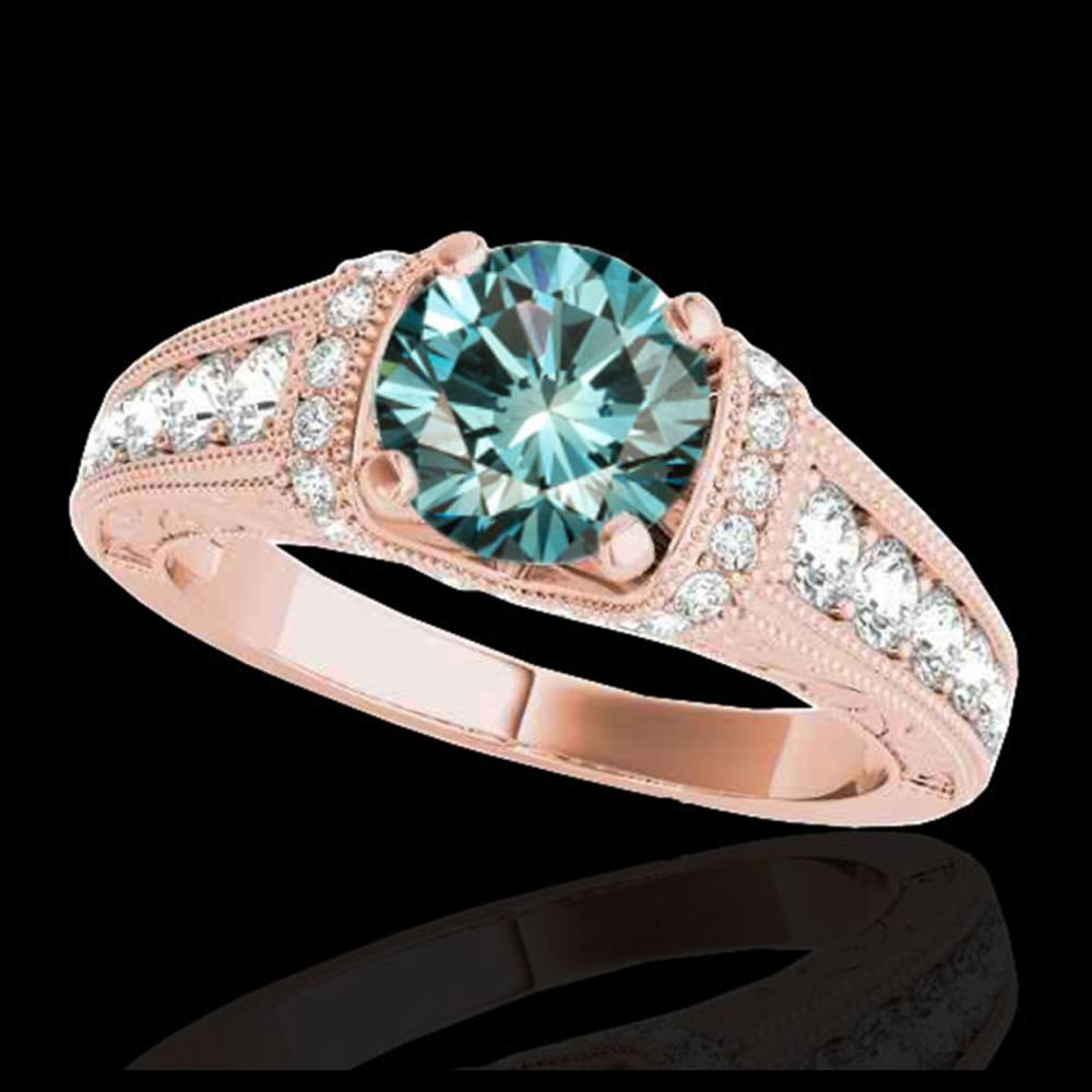 1.75 CTW SI Certified Blue Diamond Solitaire Antique Ring 10K Rose Gold - REF-218W2F - 34789