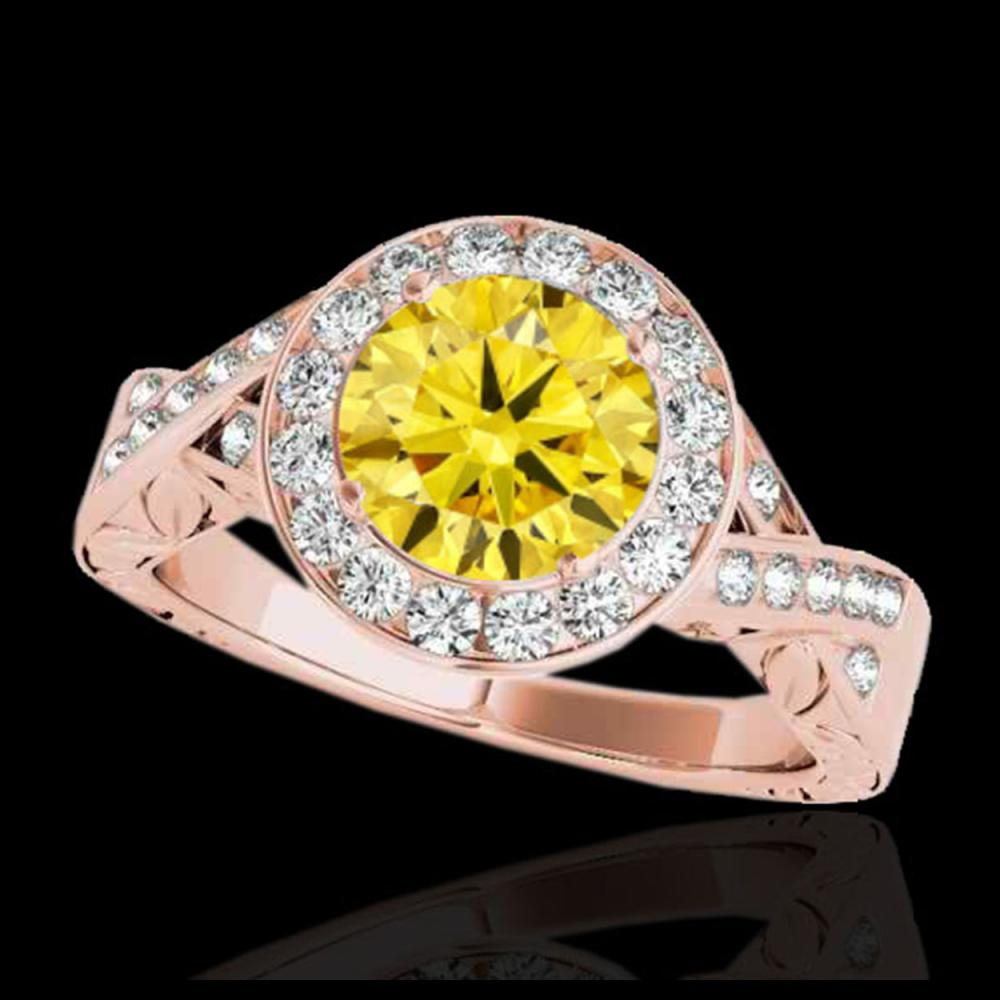 1.75 CTW Certified SI/I Fancy Intense Yellow Diamond Solitaire Halo Ring 10K Rose Gold - REF-320A2X - 34530