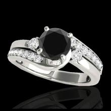 Lot 5138: 1.5 CTW Certified VS Black Diamond Bypass Solitaire Ring 10K White Gold - REF-74Y4K - 35094