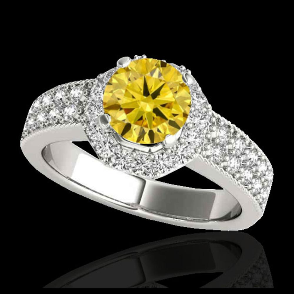 1.4 CTW Certified SI/I Fancy Intense Yellow Diamond Solitaire Halo Ring 10K White Gold - REF-172X5T - 34556