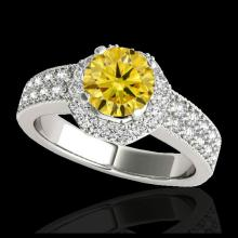 Lot 5139: 1.4 CTW Certified SI/I Fancy Intense Yellow Diamond Solitaire Halo Ring 10K White Gold - REF-172X5T - 34556