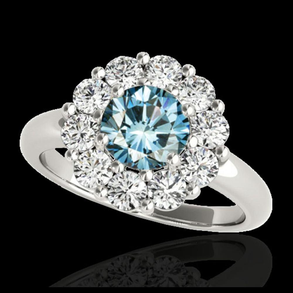 Lot 5140: 2.09 CTW SI Certified Fancy Blue Diamond Solitaire Halo Ring 10K White Gold - REF-209W3F - 34428
