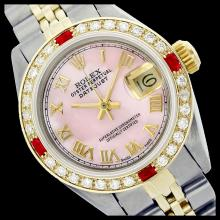 Lot 5150: Rolex Men's Two Tone 14K Gold/SS, QuickSet, Roman Dial with Diam/Ruby Bezel - REF-533A6N