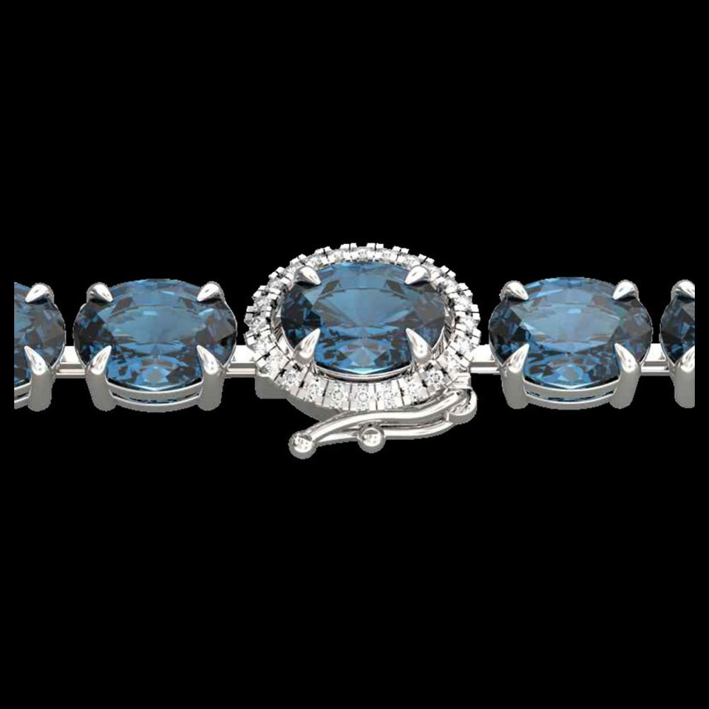 36 CTW London Blue Topaz & VS/SI Diamond Tennis Micro Halo Bracelet 14K White Gold - REF-128T9M - 23446