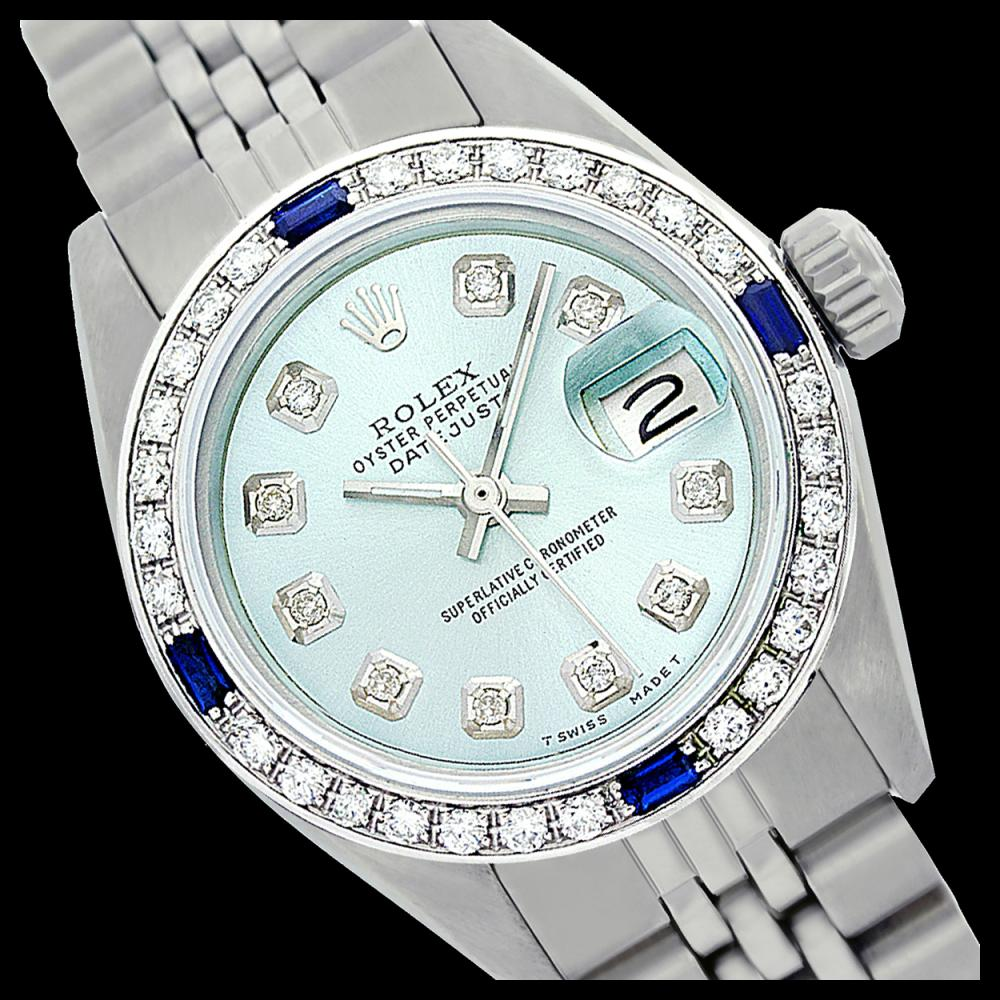 Lot 5132: Rolex Ladies Stainless Steel, Diam Dial & Diam/Sapphire Bezel, Sapphire Crystal - REF-426M4F