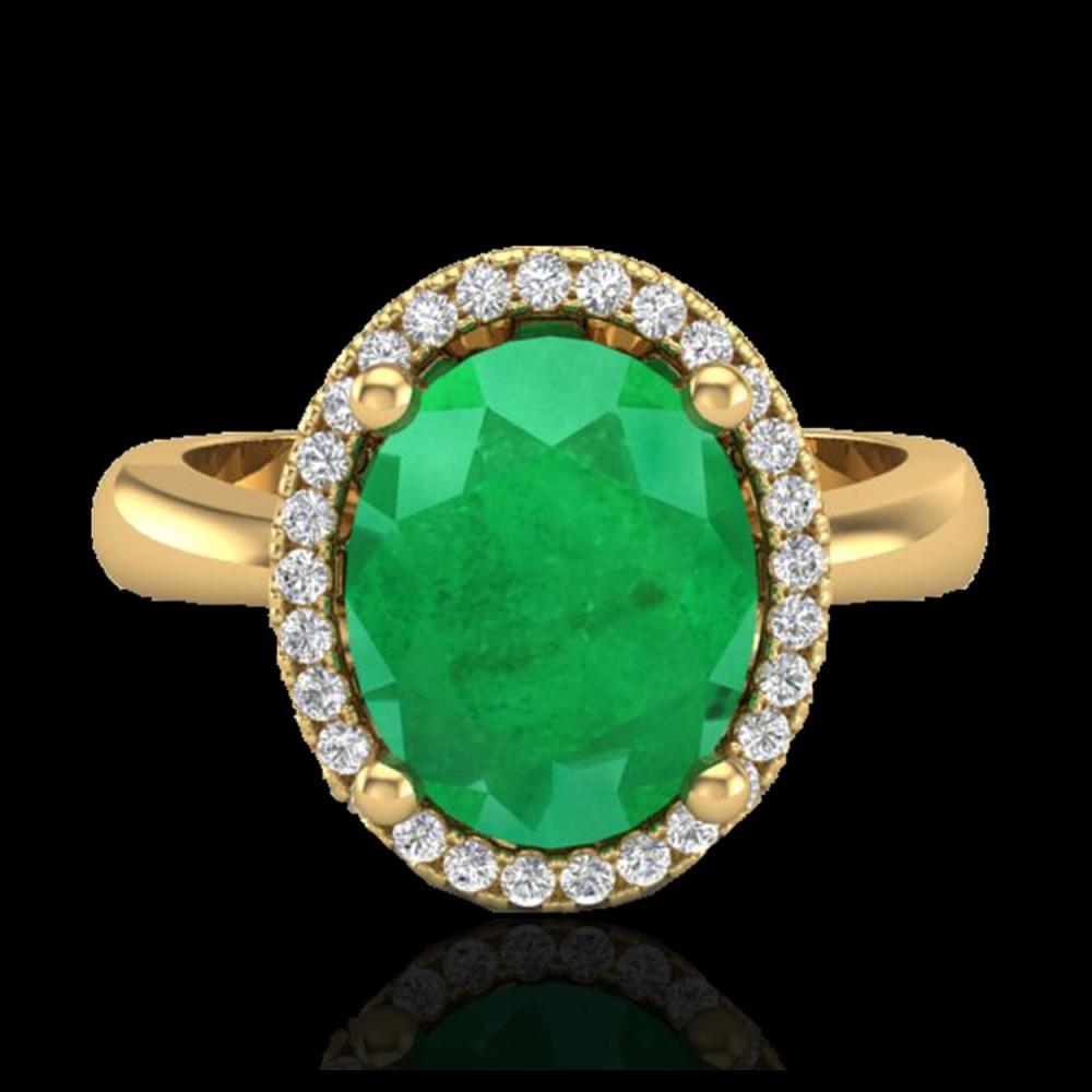 Lot 5160: 3 CTW Emerald & Micro Pave VS/SI Diamond Ring Halo 18K Yellow Gold - REF-64Y9K - 21104