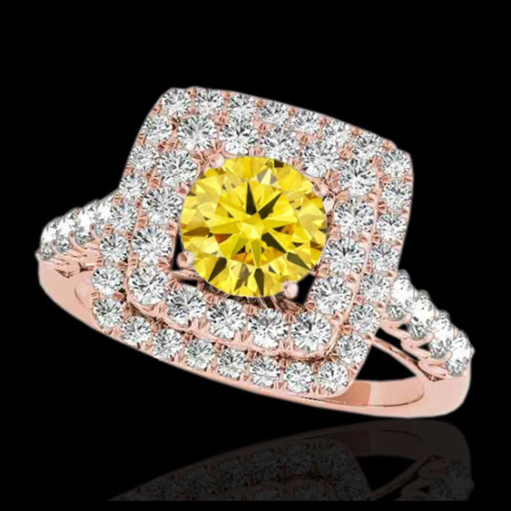 2.05 CTW Certified SI/I Fancy Intense Yellow Diamond Solitaire Halo Ring 10K Rose Gold - REF-225K5W - 34593