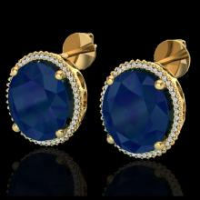 Lot 5162: 25 CTW Sapphire & Micro Pave VS/SI Diamond Halo Earrings 18K Yellow Gold - REF-200H2A - 20278